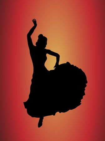 spanish girl: silhouette of flamboyant flamenco dancer on yellow and red background Stock Photo