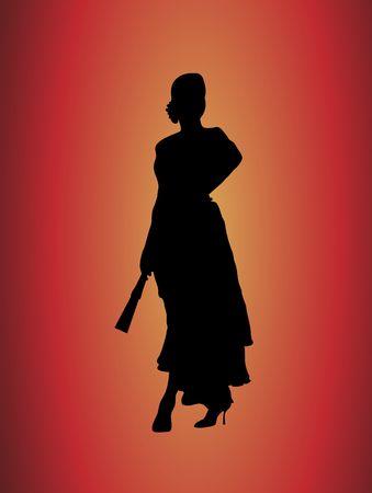 Silueta de la hermosa bailarina de flamenco en amarillo y fondo rojo Foto de archivo - 2160158