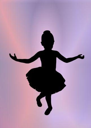 ballet tutu: silhouette of young ballerina posing on pink and purple background