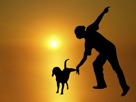 control of body movement: silhouette of dog trainer with beagle doing tricks on sunny background