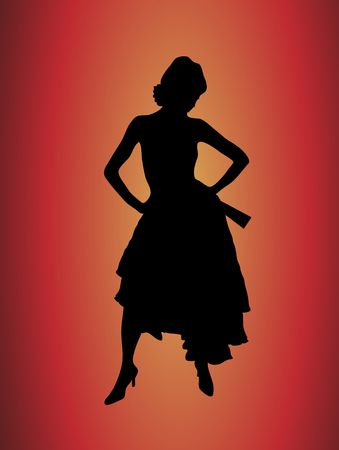 silhouette of glamorous flamenco dancer on yellow and red background Stock Photo