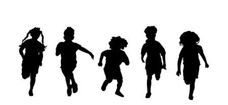 silhouette of five children running a race on white background photo