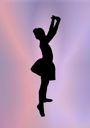 school class: silhouette of young ballerina posing on pink and purple background