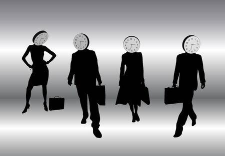 Abbildung von Geschäftsprozessen mit Profis Uhr Köpfe, Wortspiel halten vor der Zeit Standard-Bild - 2192445