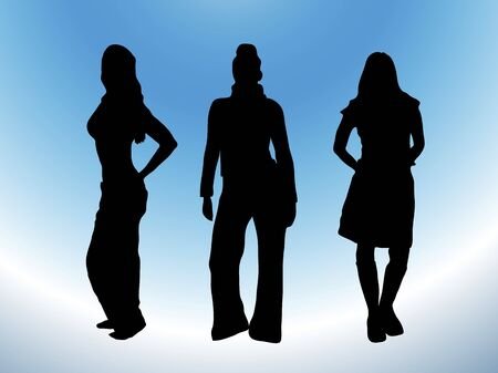 silhouette of three models in casual wear on white and blue background Stock Photo