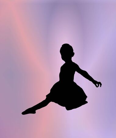 flexible girl: silhouette of young ballerina posing on pink and purple background
