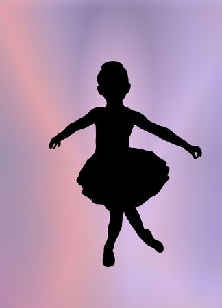 silhouette of young ballerina posing on pink and purple background