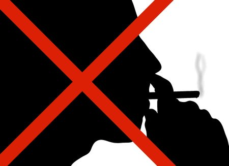 puffing: silhouette of man puffing on a cigarette with red cross over his face Stock Photo