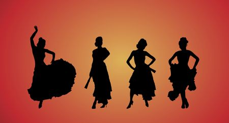 rumba: silhouette of beautiful flamenco dancers on yellow and red background Stock Photo