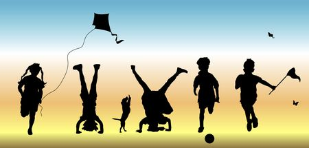 silhouette of five children doing various play time activities photo