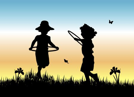 two: silhouette of two young girls skipping with hula hoops in the grass