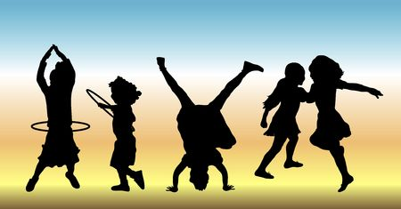 silhouettes of five children doing various play time activities photo