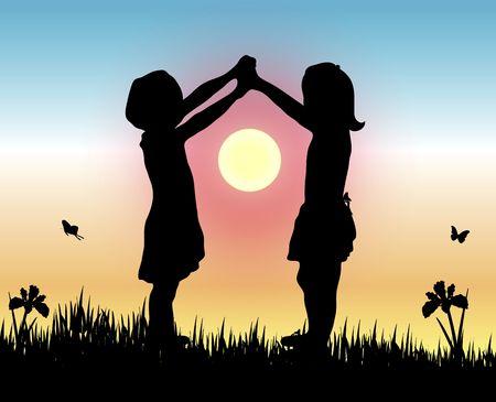manos levantadas al cielo: siluetas de dos ni�as la elaboraci�n de la puesta del sol con sus armas