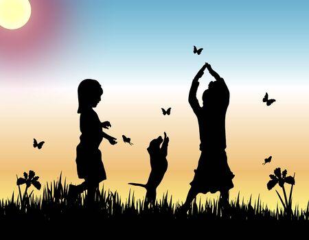 kind silhouet: silhouetten van twee kinderen en een hond vangen van vlinders bij zonsondergang