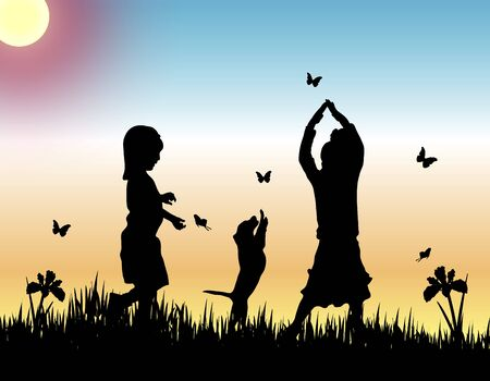silhouettes of two children and a dog catching butterflies at sunset