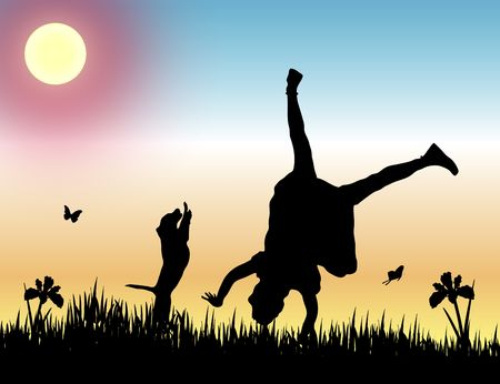 silhouette of girl doing a cartwheel with her dog at sunset 스톡 콘텐츠