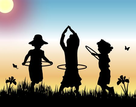 yellow adventure: silhouettes of three girls playing hula hoops on sunset background