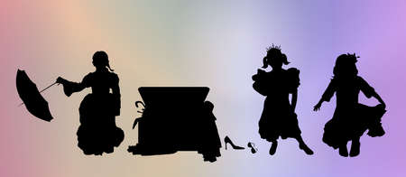 silhouttes: silhouttes of three young girls playing dress up Stock Photo