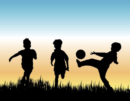 kids football: silhouette of three young boys playing soccer in field Stock Photo