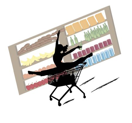 extraordinary: funny silhouette of woman with extraordinary shopping skills