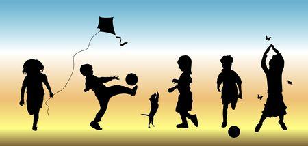 ni�os con pancarta: siluetas de cinco hijos haciendo diversas actividades de tiempo de juego