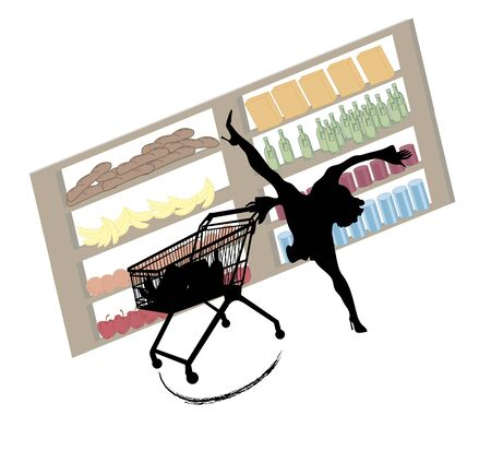 whiz: funny silhouette of woman with extraordinary shopping skills