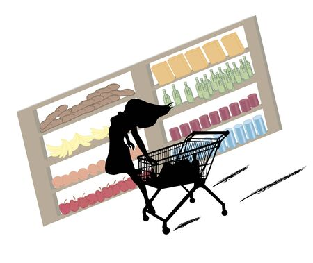 go to store: funny silhouette of woman with extraordinary shopping skills