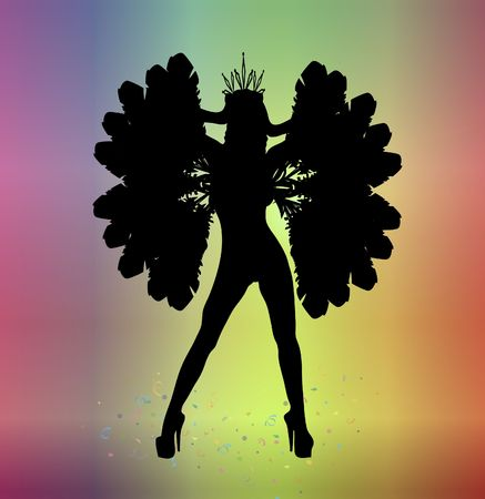 silhouette of woman in carnival costume on colourful background Stockfoto