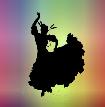 carnival costume: silhouette of woman in carnival costume on colourful background Stock Photo
