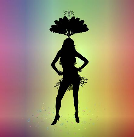 silhouette of woman in carnival costume on colourful background Stock Photo