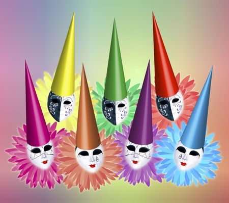 group of seven carnival masks with caps and collars on colourful background