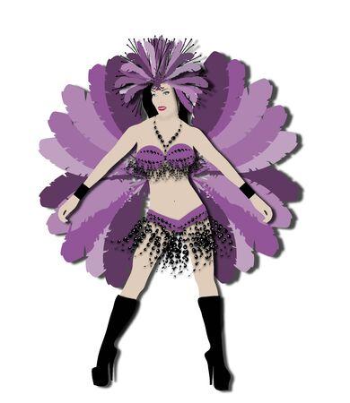 carnivale: illustration of elaborate carnival dancer in purple on white background
