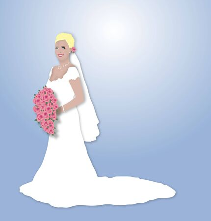 illustration of beautiful blonde bride holding a bouquet of pink flowers Stock Photo