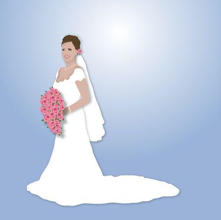 ピンクの花の花束を保持している美しいブルネット花嫁のイラスト
