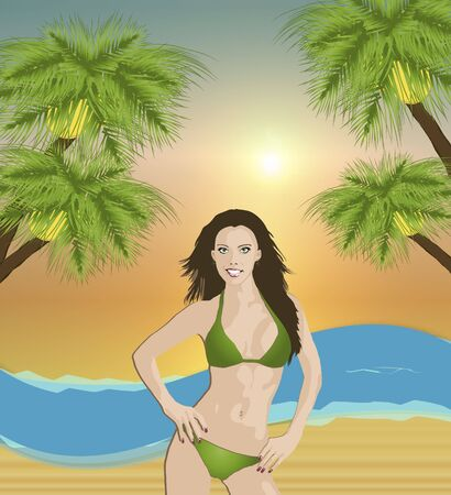 illustration of pretty girl in a green bikini on the beach