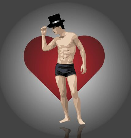 illustration of sexy male on heart background illustration
