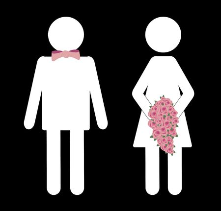 bathroom sign: illustration of bride and groom bathroom sign Stock Photo