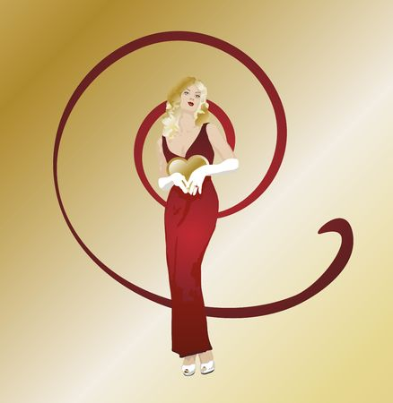 gazing: illustration of woman with puckered lips holding a heart on swirl background