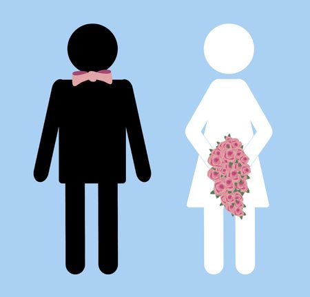 illustration of bride and groom bathroom sign Banque d'images