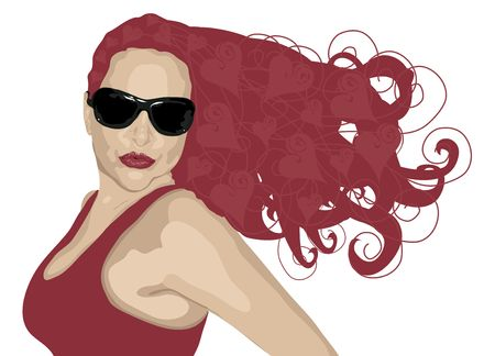 hot woman: illustration of woman in sunglasses with heart highlights in her hair