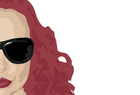 illustration of womans face with red hair on white background
