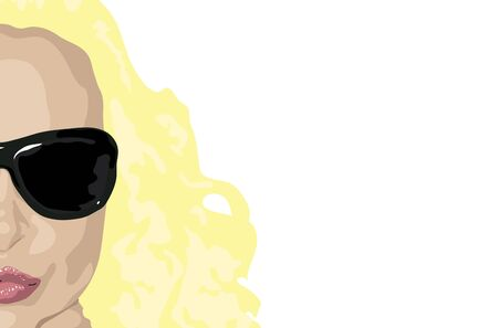 illustration of womans face with blonde hair on white background Stock Photo