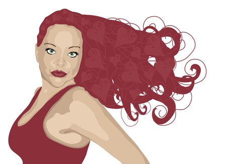 illustration of red haired woman with heart highlights on white