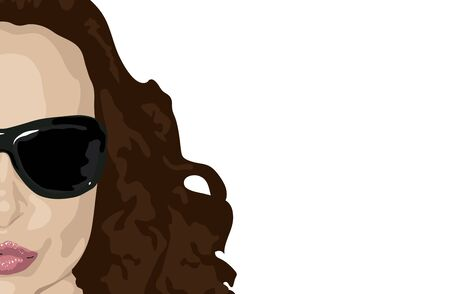 illustration of womans face with brunette hair on white background  Stock Photo