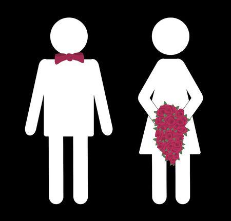 illustration of bride and groom bathroom sign illustration