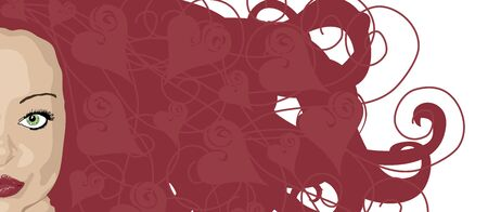 illustration banner of woman with red hair and heart highlights