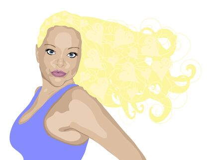 illustration of blonde woman with heart highlights on white illustration
