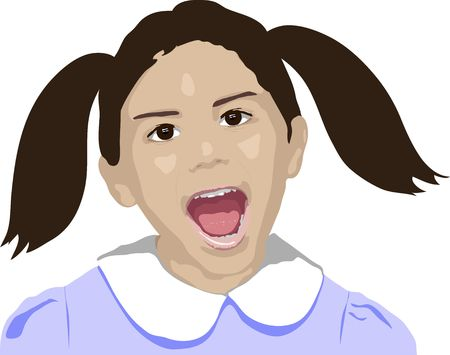 auburn: illustration of young girl shouting or laughing on white background