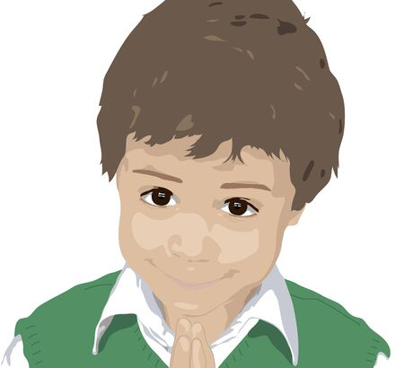 pleading: illustration of young boy pleading or praying on white background Stock Photo