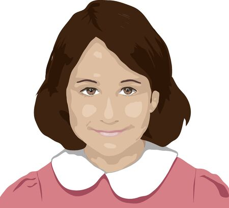 auburn: illustration of young girl smiling on white background